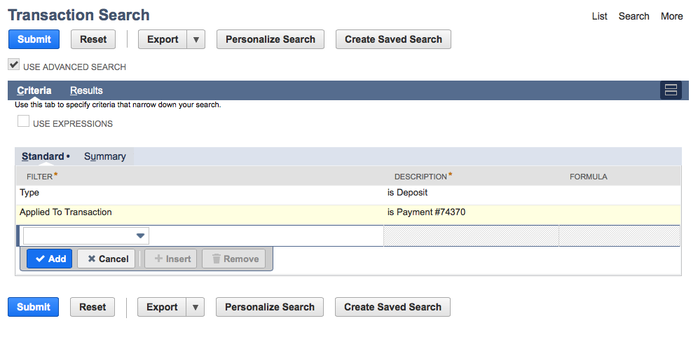 Example Deposit Search